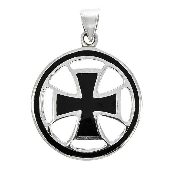 Pandantiv rotund din argint, model cruce cu email negru [0]