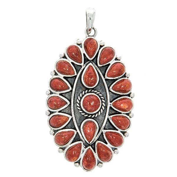 Pandantiv oval, lucrat manual din argint patinat cu pietre în formă de lacrimă și rotunde de coral [1]