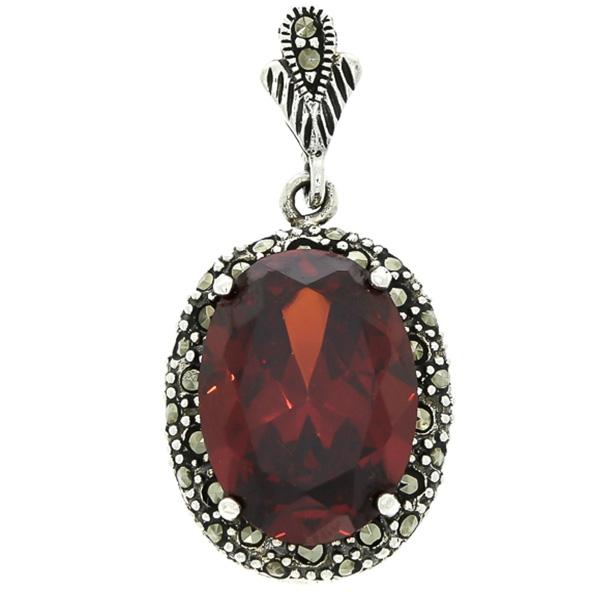 Pandantiv oval din argint cu zirconiu roșu și cristale de marcasită [0]