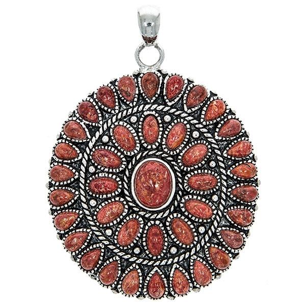 Pandantiv statement lucrat manual din argint antichizat cu pietre de coral ovale și lacrimă [1]