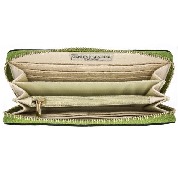 Portofel casual din piele naturală verde, lung, cu fermoar auriu [3]