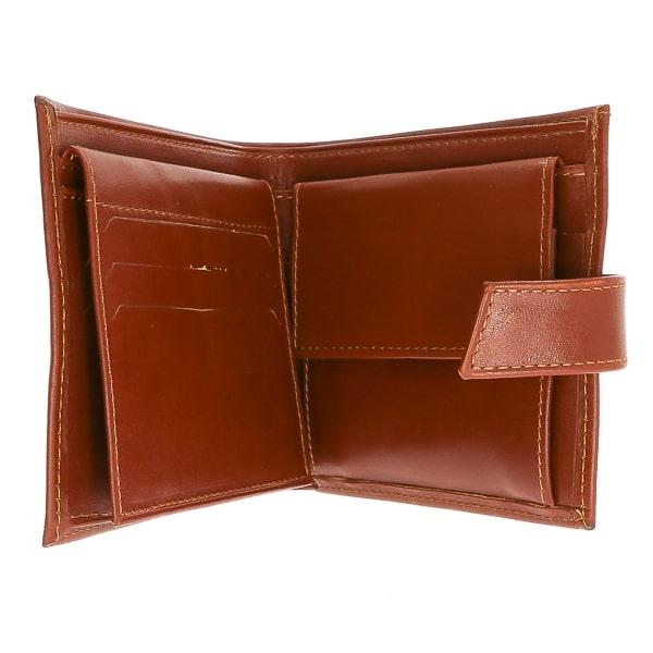 Portofel pentru bărbați din piele naturală maro deschis cu capsă [2]