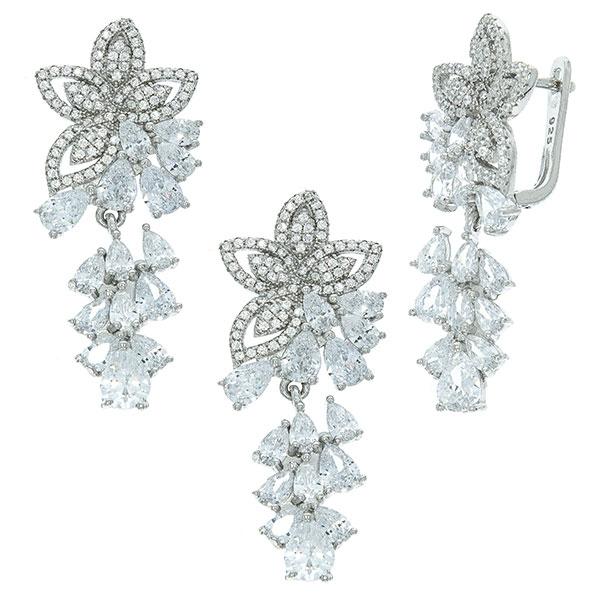 Set bijuterii argint cu motive florale format din cercei și pandantiv cu cristale de zirconiu [2]
