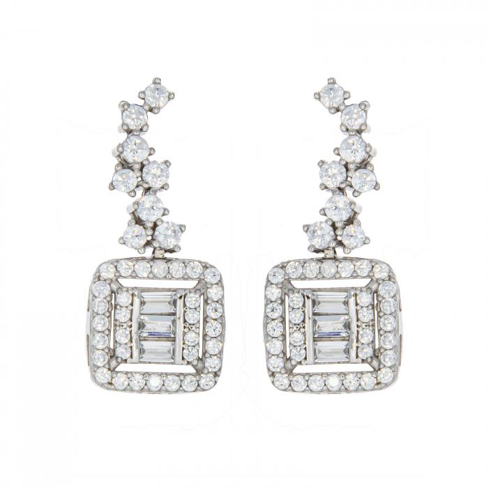 Set elegant din argint cu cercei si colier decorat cu zirconii [2]