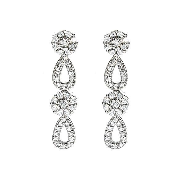Set bijuterii argint cu formă de lacrimă format din cercei și colier cu zirconii [2]