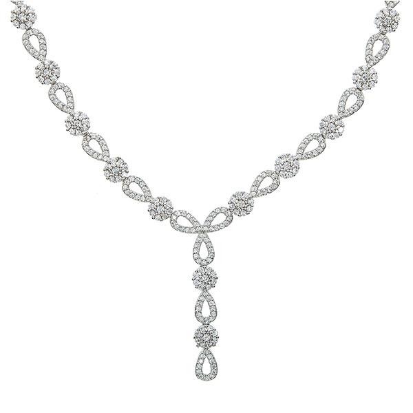 Set bijuterii argint cu formă de lacrimă format din cercei și colier cu zirconii [4]