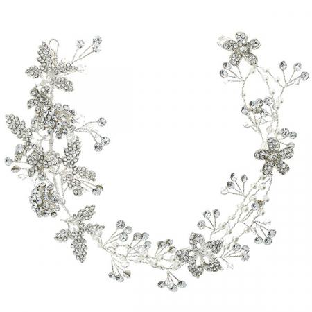 Accesoriu de păr deosebit, floral, pentru mirese, cu cristale, perle și ștrasuri. [0]