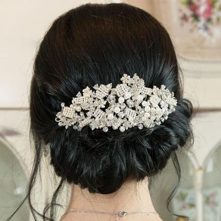 Accesoriu pentru păr, de ocazie, cu perle și cristale [0]