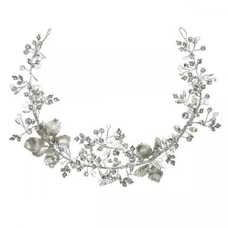 Accesoriu de păr pentru mirese, modelator, cu flori, perle și cristale [0]