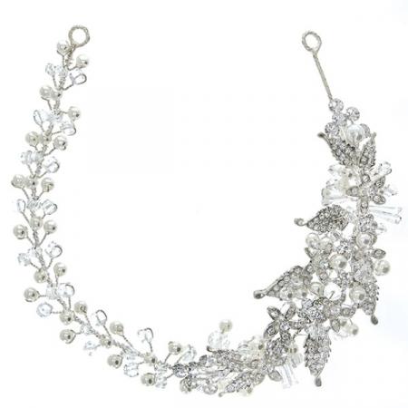 Accesoriu modelator pentru păr cu motive florale, cristale, perle și ștrasuri [0]
