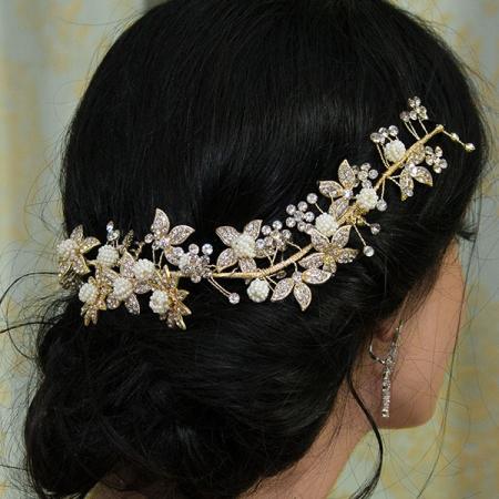 Accesoriu modelator pentru păr cu perle și cristale [1]