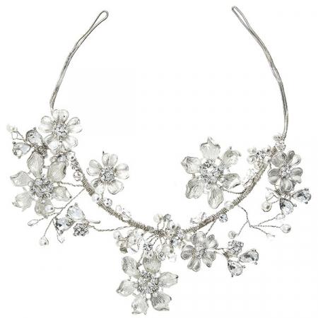 Accesoriu floral pentru păr, modelator, cu cristale și perle [1]