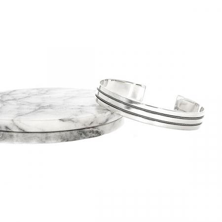 Brățară fixă argint cu model patinat [5]