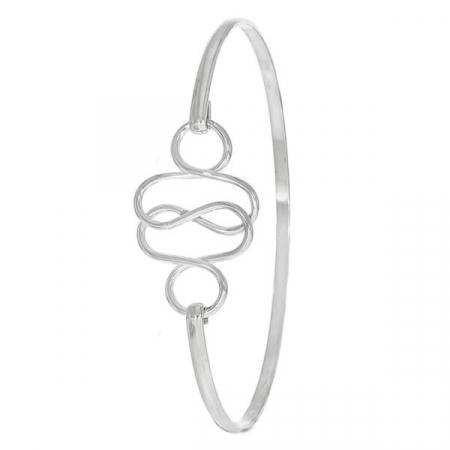 Bratara din argint fixa cu element decorativ in valuri [1]