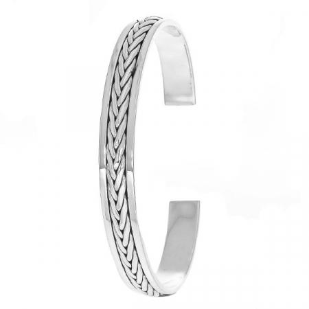 Brățară argint unisex cu detalii împletite patinate [2]