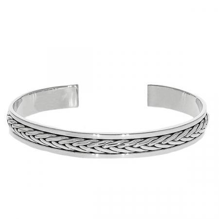 Brățară argint unisex cu detalii împletite patinate [0]