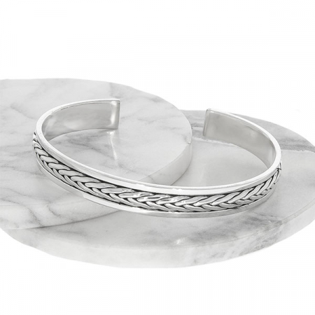 Brățară argint unisex cu detalii împletite patinate [3]