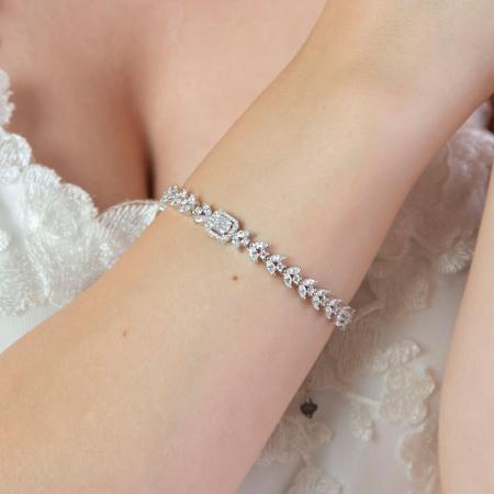 Brățară elegantă din argint rodiat cu zirconii [3]