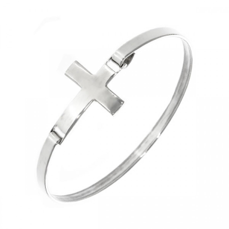 Brățară fixă, din argint, cu pandantiv cruce [4]