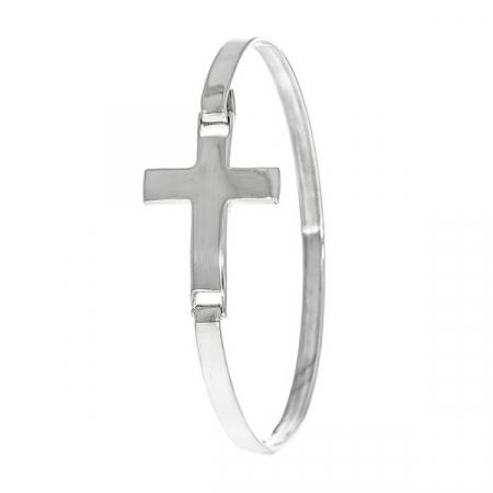 Brățară fixă, din argint, cu pandantiv cruce [0]