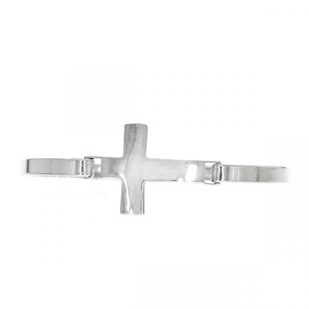 Brățară fixă, din argint, cu pandantiv cruce [2]