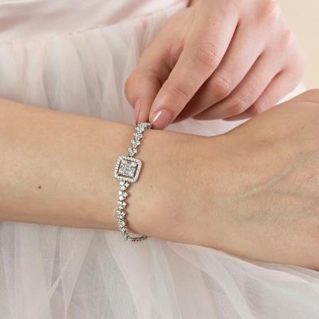 Brățară elegantă din argint rodiat cu pietricele de zirconiu [1]