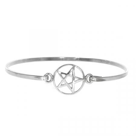 Brățară argint fixă cu talisman-pentagramă [2]