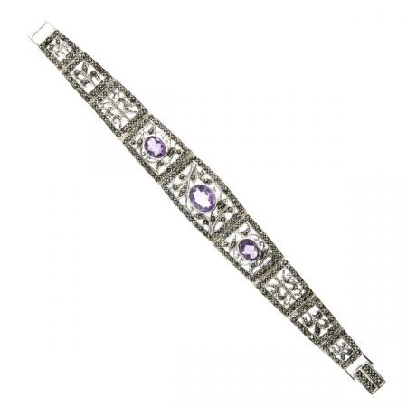 bratara argint antichizat eleganta cu marcasite si ametist [3]