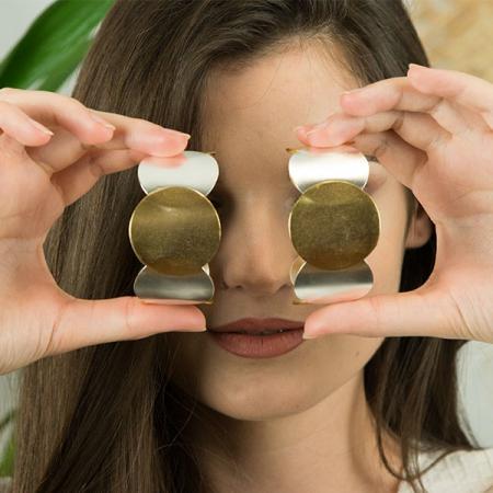 Bratara statement din argint satinat aurit cu argintiu [3]
