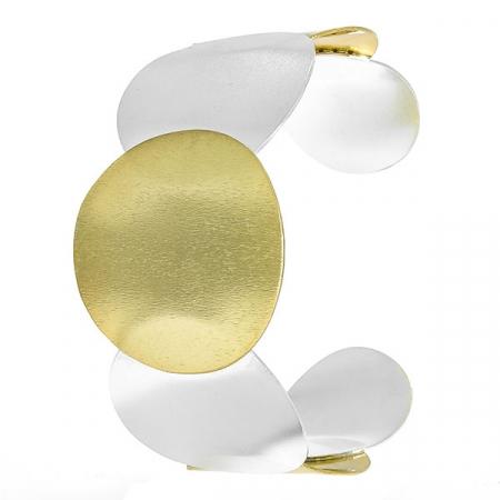 Bratara statement din argint satinat aurit cu argintiu [2]