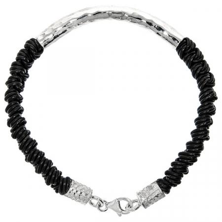 Brățară argint cu șnur negru împletit [1]