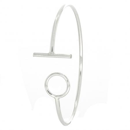 Bratara moderna din argint cu cerc si T la capete [0]