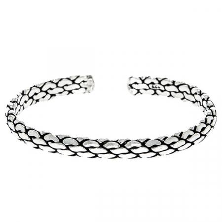 Brățară semi-rigidă din argint antichizat model împletit, unisex [3]