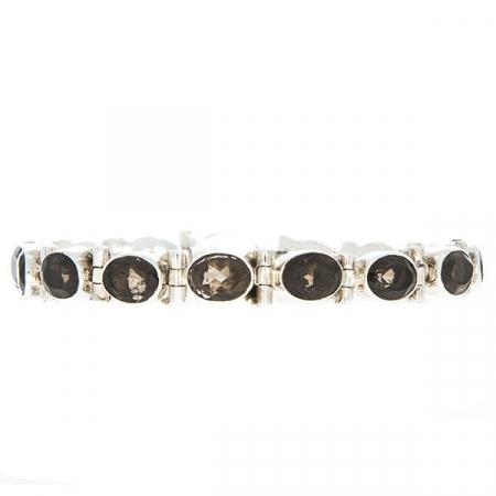 Bratara din argint 925 cu pietre fatetate de cuart fumuriu [0]