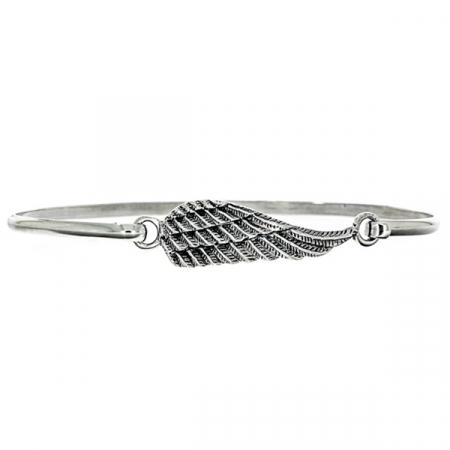 Bratara fixa din argint cu aripa model patinat [0]