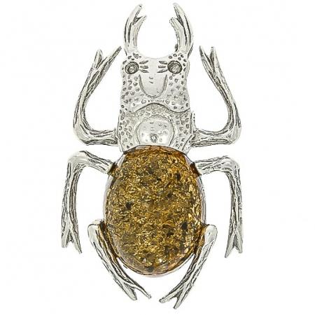 Broșă argint model insectă, decorată cu piatră de chihlimbar [0]