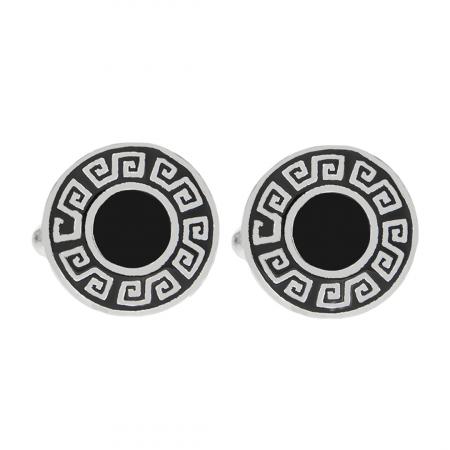 Butoni din argint rotunzi cu model grecesc evidențiat cu email negru [0]