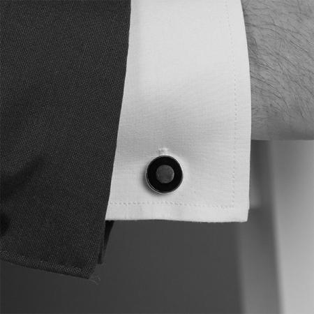 Butoni argint rotunzi cu email negru [0]