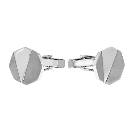 Butoni octogonali din argint cu porțiuni mate [3]