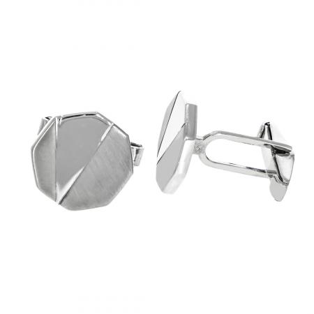 Butoni octogonali din argint cu porțiuni mate [1]
