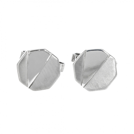 Butoni octogonali din argint cu porțiuni mate [0]