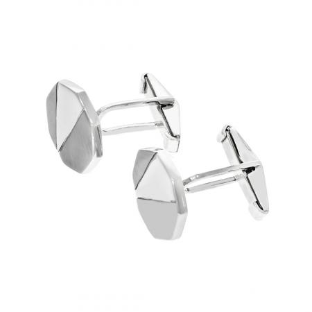 Butoni octogonali din argint cu porțiuni mate [2]