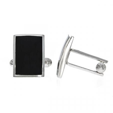 Butoni eleganți din argint rodiat 925 model dreptunghiular cu email negru [2]