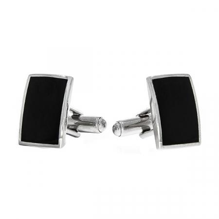 Butoni eleganți din argint rodiat 925 model dreptunghiular cu email negru [0]