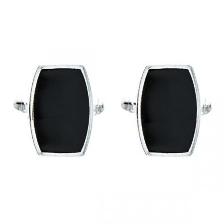 Butoni eleganți dreptunghiulari din argint 925 cu email negru [0]