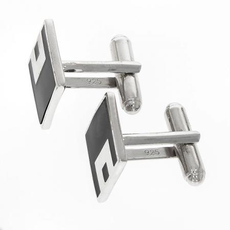 Butoni eleganți din argint rodiat 925 model pătrat cu email negru [1]
