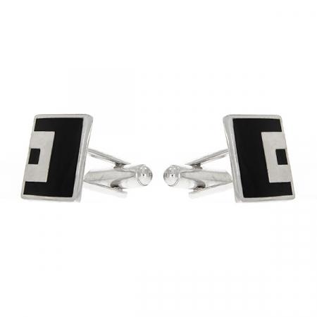 Butoni eleganți din argint rodiat 925 model pătrat cu email negru [3]