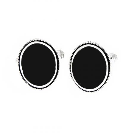 Butoni ovali din argint 925 cu agat negru [0]