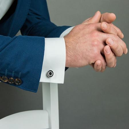 Butoni eleganți rotunzi din argint cu email negru și cristale [1]