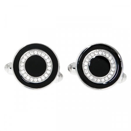 Butoni eleganți rotunzi din argint cu email negru și cristale [0]